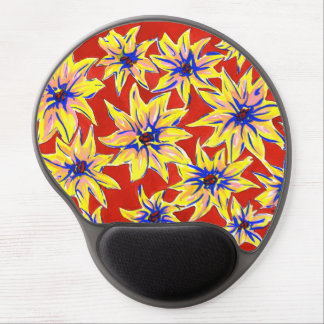 Bright Pop Art Floral Red and Yellow Gel Mouse Pad