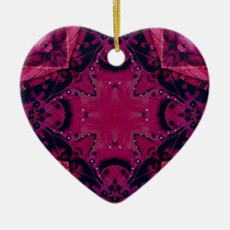 Bright Pop Neon Magenta Artistic Pattern Ceramic Heart Ornament