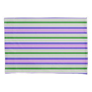 Bright Preppy Colors Purple Green Stripe Pillowcase