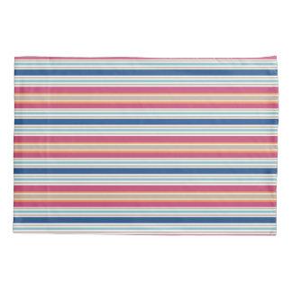 Bright Preppy Colors Red Blue Stripe Pillowcase