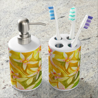 Bright Pretty Floral Watercolour Bath Set
