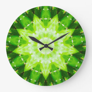 Bright Prickly Succulent Fractal Large Clock