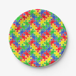 Bright Primary Colors Jigsaw Puzzle Pieces 7 Inch Paper Plate