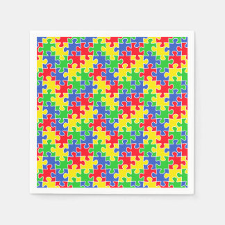 Bright Primary Colors Jigsaw Puzzle Pieces Disposable Napkins