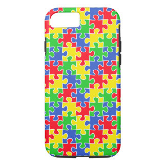 Bright Primary Colors Jigsaw Puzzle Pieces iPhone 7 Case
