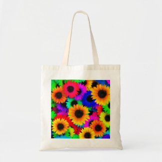 Bright Psychedelic Flower Child Hippy Pattern Tote Bag