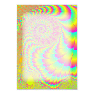 "Bright Psychedelic Infinite Spiral Fractal Art 5"" X 7"" Invitation Card"