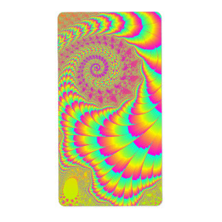 Bright Psychedelic Infinite Spiral Fractal Art Shipping Label