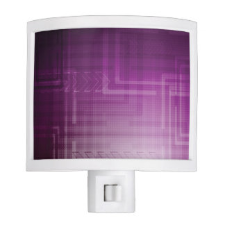 Bright Purple Abstract Tech Print Night Lite