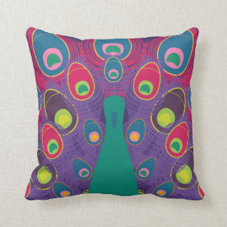 Bright Purple and Green Abstract Peacock Pillow