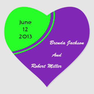 Bright purple and lime green Mod Wedding Heart Sticker