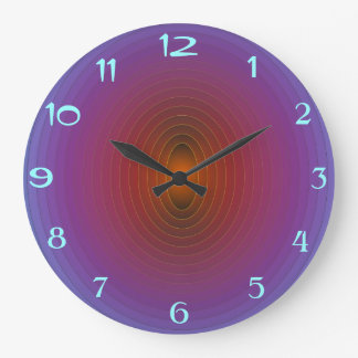 Bright Purple/Aqua> Fractual Patterned WallClock