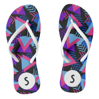 Bright Purple, Blue, Pink 80's Background Pattern Flip Flops