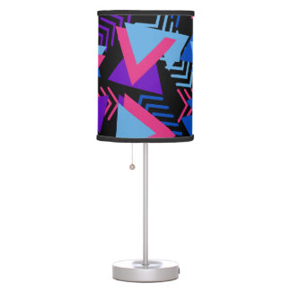 Bright Purple, Blue, Pink 80's Background Pattern Table Lamp