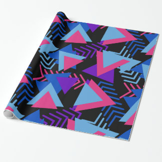 Bright Purple, Blue, Pink 80's Background Pattern Wrapping Paper