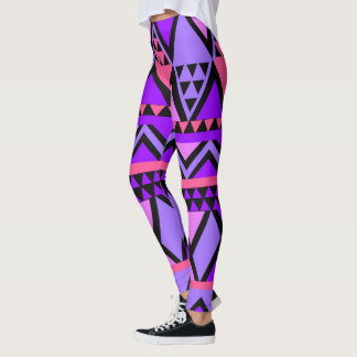 Bright Purple, Blue, Pink 80's Zig Zag Pattern Leggings