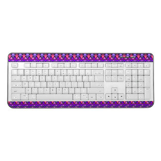 Bright Purple, Blue, Pink 80's Zig Zag Pattern Wireless Keyboard