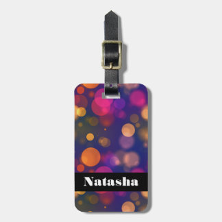 Bright Purple, Blue, Pink Bokeh Background Pattern Luggage Tag