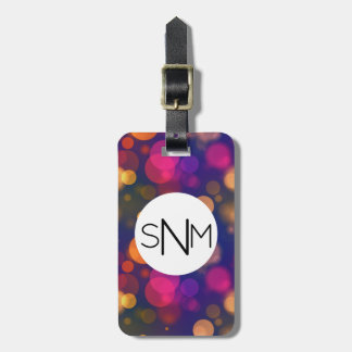 Bright Purple, Blue, Pink Bokeh Lights Pattern Luggage Tag