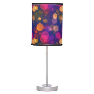 Bright Purple, Blue, Pink Bokeh Lights Pattern Table Lamp