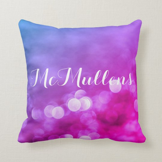Bright Purple, Blue, Pink Bokeh Lights Pattern Throw Pillow
