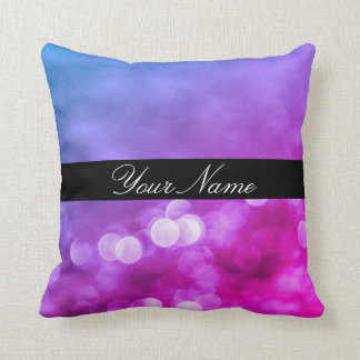 Bright Purple, Blue, Pink Bokeh Lights With Name Throw Pillow