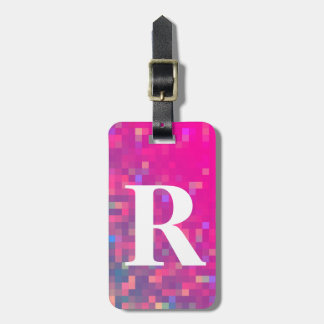 Bright Purple, Blue Square Lights with Initial Luggage Tag