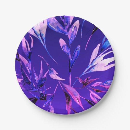 Bright Purple Bold Colour Watercolor Botanical Paper Plate