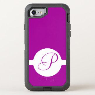 Bright Purple Circle Monogram OtterBox Defender iPhone 8/7 Case