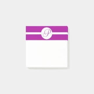 Bright Purple Circle Monogram Post-it Notes