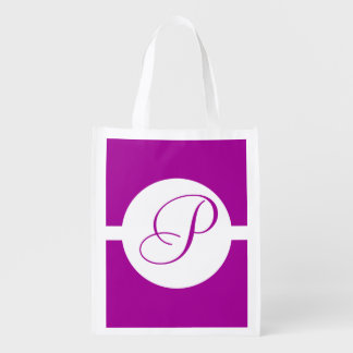Bright Purple Circle Monogram Reusable Grocery Bag
