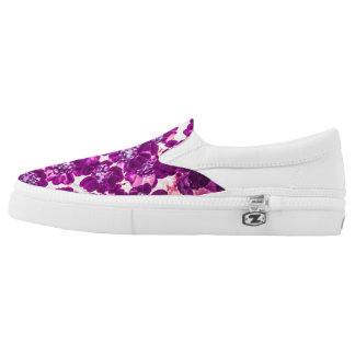 Bright purple flower slip on shoes