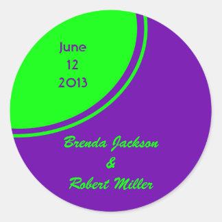 bright purple green mod circle wedding round sticker