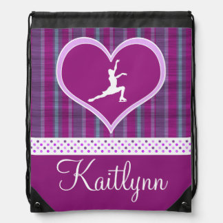 Bright Purple Heart and Aqua Stripes Figure Skater Drawstring Bag