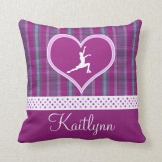 Bright Purple Heart and Aqua Stripes Figure Skater Throw Pillow