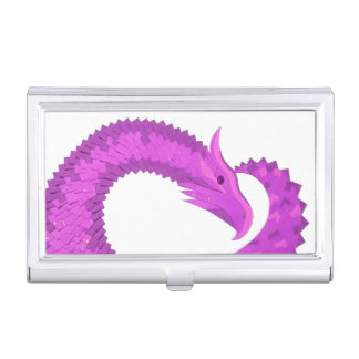 Bright purple heart dragon on white business card holder