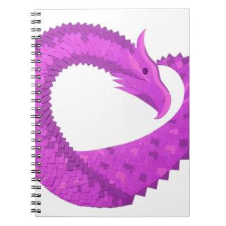 Bright purple heart dragon on white notebooks