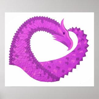 Bright purple heart dragon on white poster