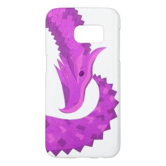 Bright purple heart dragon on white samsung galaxy s7 case