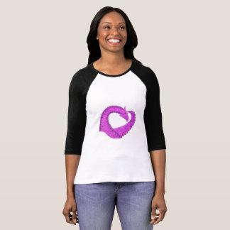 Bright purple heart dragon on white T-Shirt