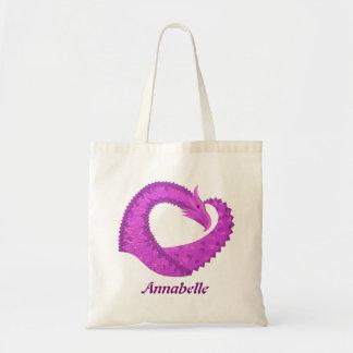 Bright purple heart dragon on white tote bag