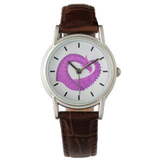 Bright purple heart dragon on white watch