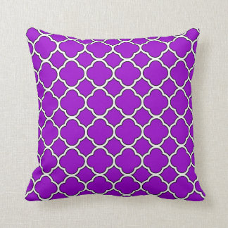 Bright Purple Quatrefoil Throw Pillow