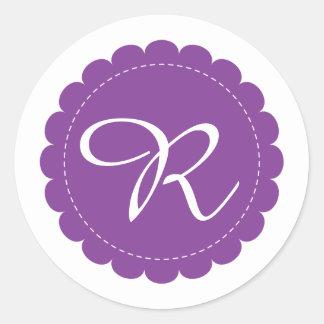 Bright Purple Scalloped Circle Cursive Monogram Classic Round Sticker