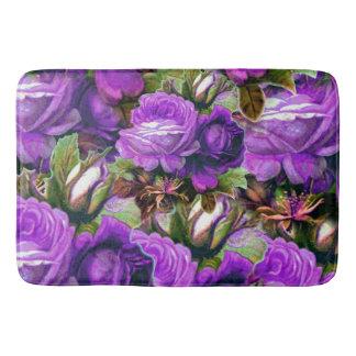 Bright Purple Vintage Roses Grunge Bathroom Mat