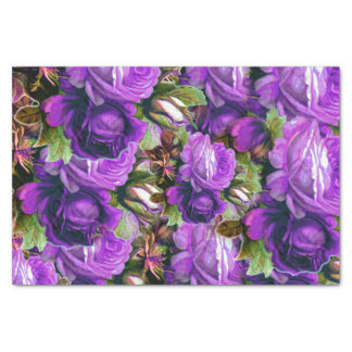 Bright Purple Vintage Roses Grunge Tissue Paper
