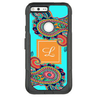 Bright Rainbow Aqua Paisley Monogram OtterBox Commuter Google Pixel XL Case