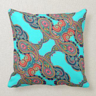 Bright Rainbow Aqua Paisley Throw Pillow