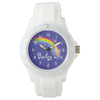 Bright rainbow blue name wrist watch