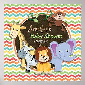 Bright Rainbow Chevron Zoo Animals Baby Shower Print